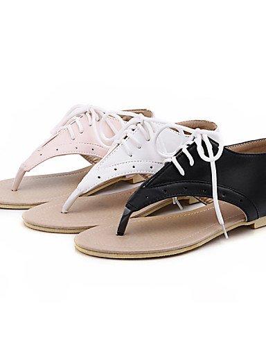 ShangYi Sandaletten für Damen Damenschuhe - Sandalen - Kleid / Lässig - Kunstleder - Flacher Absatz - Komfort / Vorne offener Schuh - Schwarz / Rosa / Weiß White