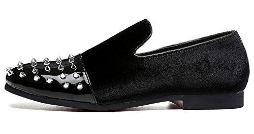 Mocassins Noir Hommes Chaussures Bateau Mode La Santimon Conduite Cuir Noir En Robe Mocassins Glissent Daim Verni Sur En Rivets rgw5rTnq