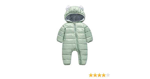 0c0b415d401bd Amazon.com  RUI-CHENG Newborn Baby Boys Hooded Winter Puffer Dwon Cotton  Snowsuit for Boys Girls Warm Thick Romper Bodysuit Coat 0-6M Green  Clothing