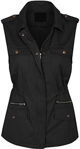 KOGMO Womens Military Anorak Safari Utility Vest