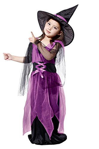 [Little Princess Fairytale Witch Costume Girl's Pretty Witch Cospaly Purple (110:Fit for] (Chinese Vampire Costume)