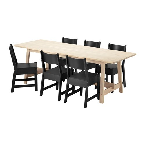 Ikea Table and 6 chairs, white birch, black 16204.20517.1430