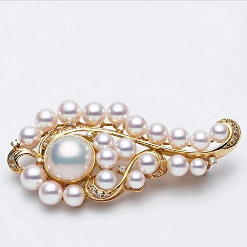 K18 マベ真珠/アコヤ本真珠 準花珠コンビ ブローチ 天然ダイヤ付き パール 18金