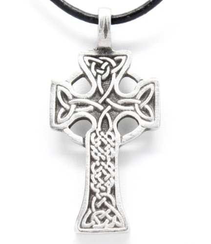 Pewter Celtic Cross with Triquetra Knots Pendant on Leather (Cross Pewter Pendant Leather Necklace)