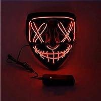 Charlemain Masque Halloween LED, Masque Lumineux avec 3 Modes de Flash,Jouets Lumineux Convient pour Festival,Halloween,Noël,Carnaval,Fête,Mascarade,Cosplay,Decoration-Rouge