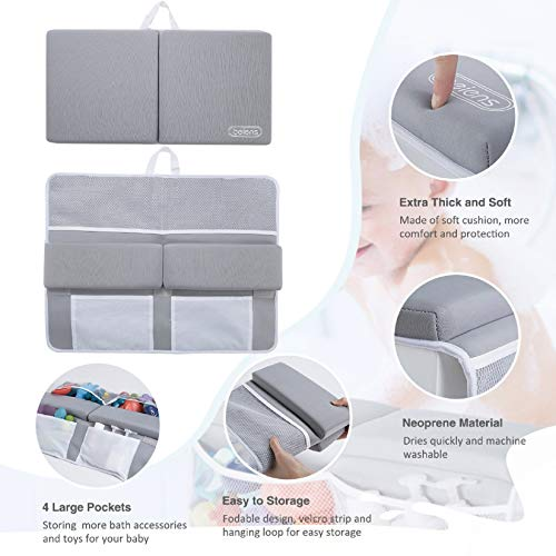 41aAm15s48L - Beiens Bath Kneeler With Elbow Rest Set, 1.5'' Thick Quickly Dry Kneeling Pad And Elbow Support For Knee & Arm Support Large Bathtub Kneeling Mat With Toy Organizer For Happy Baby Bathing Time (Grey)