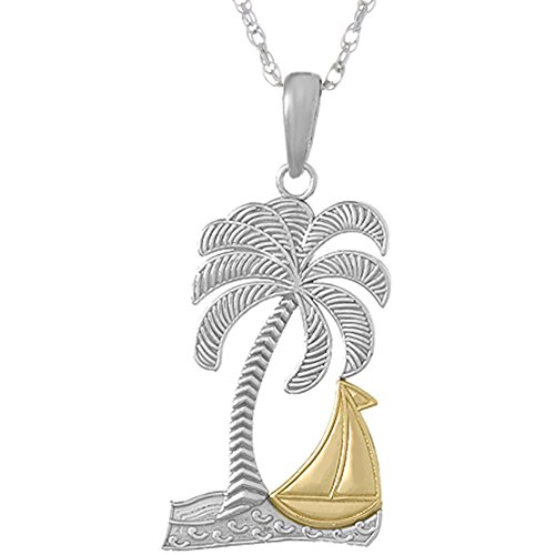 Gold Sailboat - 925 Sterling Silver Nautical Necklace Charm Pendant with Chain, Palm Tree with14k Gold Sailboat
