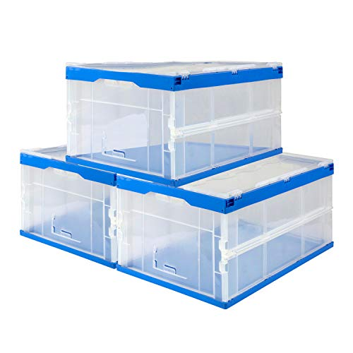 Mount-It! Folding Plastic Storage Crate, Collapsible Utility Distribution Container with Attached Lid, 65L Liter Capacity, Clear (Set of 3)