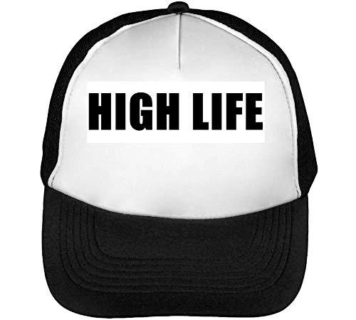 High Life Gorras Hombre Snapback Beisbol Negro Blanco