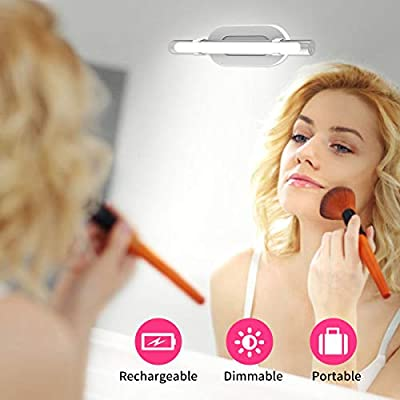 Bason Portable Makeup Light, Rechargeable Vanity Mirror Lights with Brightness Adjustment, Wireless Vanity Lights for Mirror, Simulated Daylight,6500K