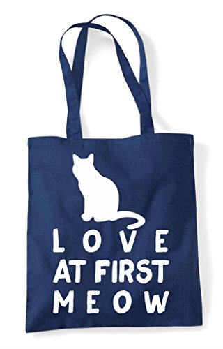 Person Lover At Tote Shopper Cat First Funny Animal Love Bag Pets Navy Meow FqBYS
