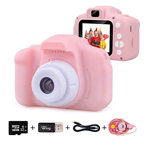 EMISK Kids Digital Camera for Girls Age 3-10, Toddler Cameras Mini Cartoon Rechargeable Video Camera with 2 Inch IPS Screen and 32GB SD Card Child Camcorder Toy Gift for Kid