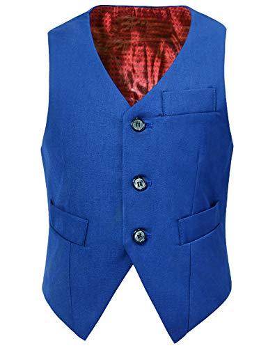 Visaccy Boys Vest Fully Lined Kids Suit Dress Vest for Toddler Boy Royal Blue Size 3T