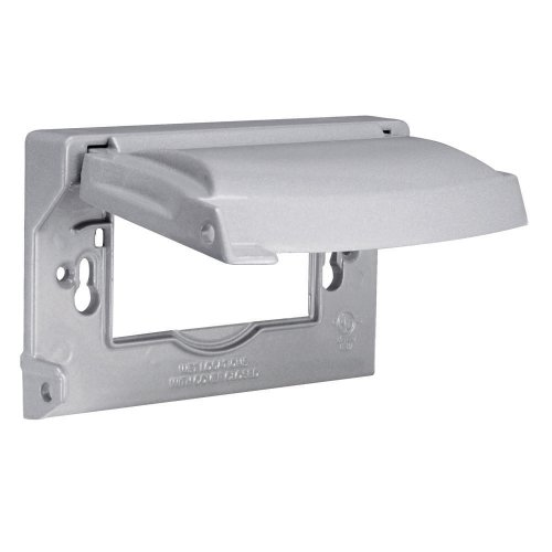 Hubbell Outdoor Lighting MX1250S Weatherproof Single Outlet Cover Outdoor Receptacle Protector, Horizontal Flat, Gray, Grey ()