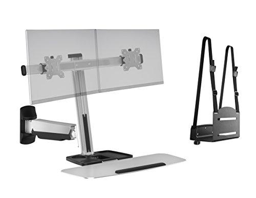 Ergotech FDM-LIFT-2-WM Freedom Lift Sit Stand, Wall Mount, Dual, Silver