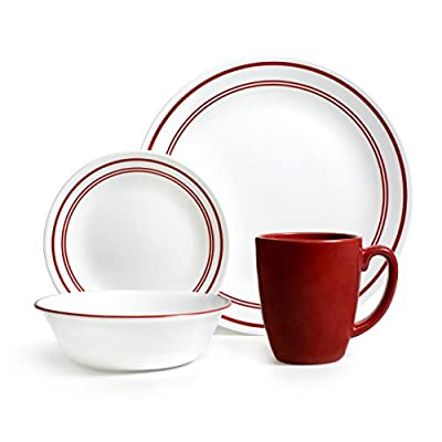 Corelle Livingware 16-Piece Dinnerware Set, Service for 4, Classic Cafe Red - Dishwasher safe for long lasting patterns Microwave and oven use for versatility Coordinate with popular corelle dinnerware patterns - kitchen-tabletop, kitchen-dining-room, dinnerware-sets - 41aAnJCs2FL. SS400  -