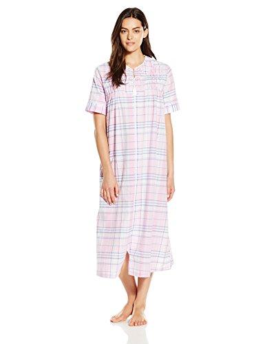 Miss Elaine Women's Seersucker Zip Robe, Pink/Navy Plaid,...