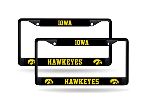 Rico Iowa Hawkeyes NCAA Black Metal (2) License Plate Frame Set