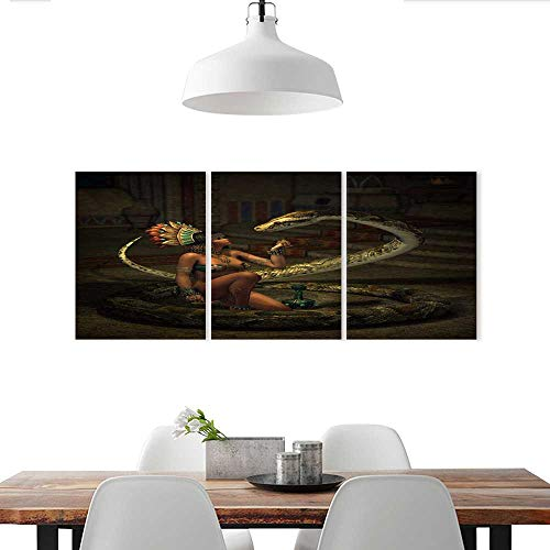- Auraise-home Customize Wall Stickers 3D Computer Graphics of a Fantasy Scene with Girl and Snake Triple Art Stickers