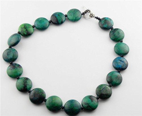 usongs Phoenix stone beads blue-green button-wafer crystal necklace pendant women girls 4002
