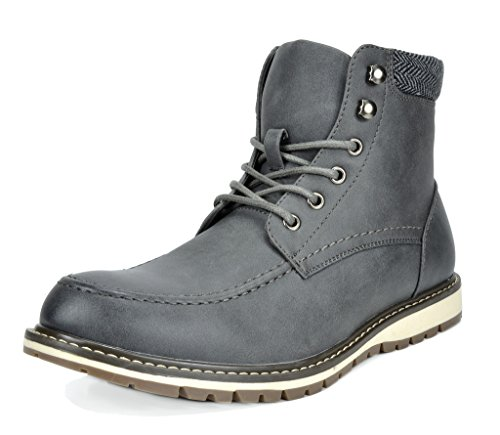 Bruno Marc Men's Apache-01 Grey Faux Fur Lined Motocycle Combat Oxford Ankle Boots Size 12 M US