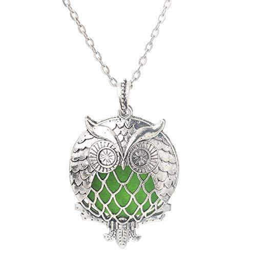 Ancient Silver Owl Perfume Box Necklace Antique Retro Aromatherapy Essential Oil Diffuser Locket Pendant Jewelry,F