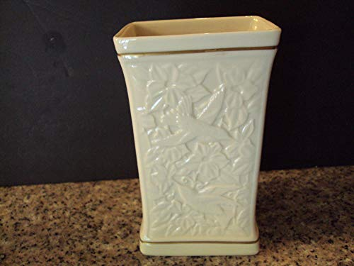 Lenox Porcelain Rectangular Vase Embossed Flowers and Birds Gold Accents ()