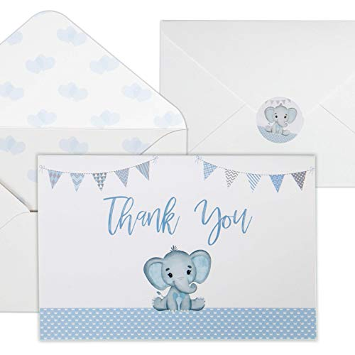 Baby Shower Thank You Cards for Boys. 50 Pack Blue Watercolor Elephant Boys Baby Shower Cards. Cute Thank You Notes with Envelopes & Stickers