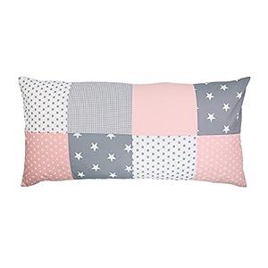 Housse de coussin patchwork rose gris ULLENBOOM ® (housse de coussin 40x80cm, 100% coton, idéal pour décorer la chambre d'enfant, coussin décoratif, motif: étoiles, maritime)