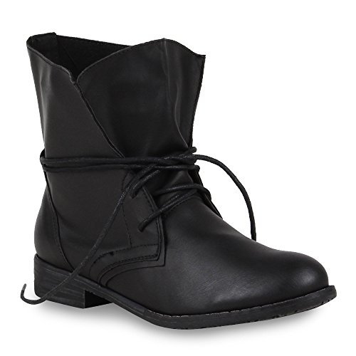 Schwarz Lace up Heel Desert With Block Black Women's Shoes Boots vSPqRwS