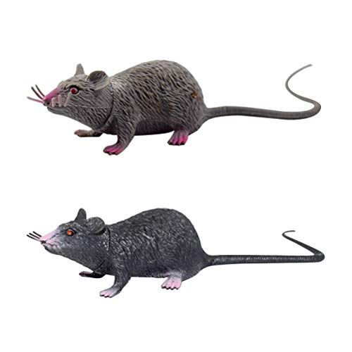 Amosfun 2pcs Fake Mouse Realistic Mice Toy Lifelike Spooky Rat Toy Halloween Prank Toy Creepy Halloween Party April Fool's Day Decorations Birthday Gift]()