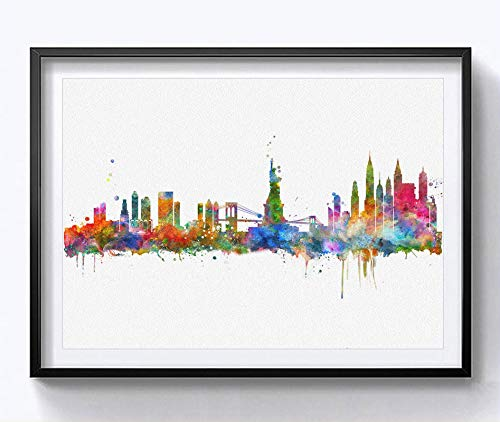 City Hangings - New York City Wall Hanging Map Skyline Art Print New York Skyline City Watercolor Art Print NYC Wall Print Poster Painting Home Decor 8X10inch No Frame