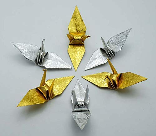 500 Origami Paper Crane in Gold and Sliver With Rose Pattern 3 inch Origami Cranes