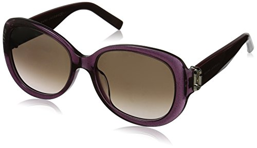 Marc Jacobs White Sunglasses - Marc Jacobs Women's Marc111s Oval Sunglasses, GLITTER VIOLET/BROWN GRADIENT, 56 mm