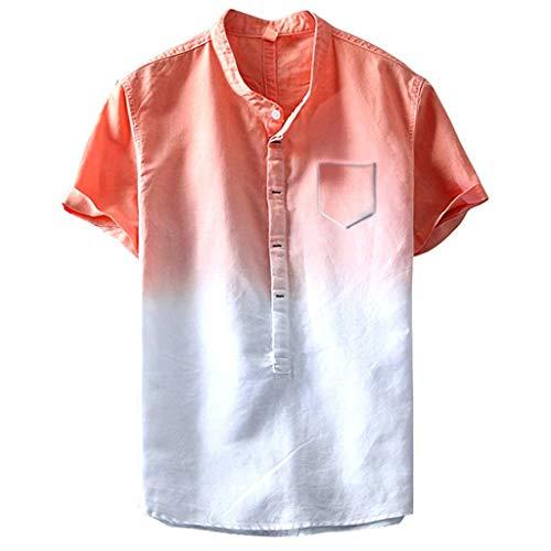 Men's Casual Linen Cotton Henley Shirts Summer Beach Short Sleeve Button Down Quick Dry Tops Lightweight Plain Tees Orange ()