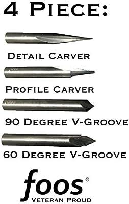 Engraving CNC Wood Carving Router Bit Set 4pcs Solid Carbide 1//4 Shanks Owned