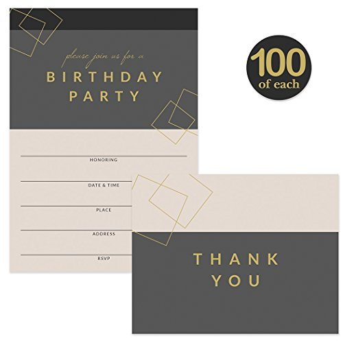 Birthday Party Invitations & Matching Thank You Cards ( 100 of Each ) Set with Envelopes, Large Family or Office Birthday Celebration 5 x 7'' Fill-in Invites & Folded Thank You Notes Best Value Pair by Digibuddha