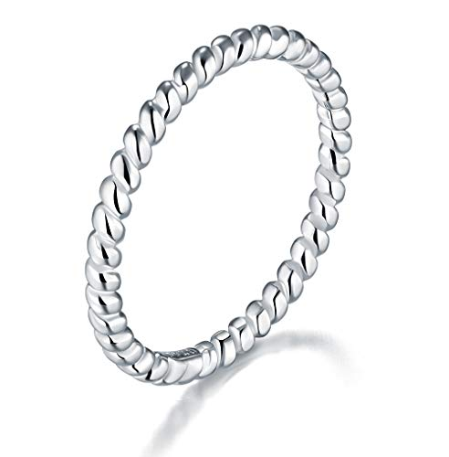 BORUO 925 Sterling Silver Ring, Celtic Knot Infinity Promise Rings 2mm Size 7