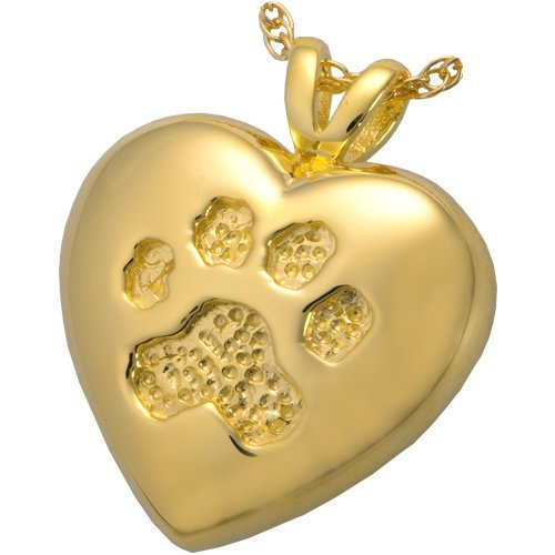 Memorial Gallery Pets 3198gp A Touch of Your Paw 14K Gold/Silver Plating Cremation Pet Jewelry