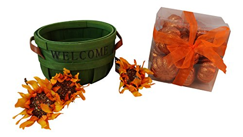 Mixed Arrangement Basket (6 pc Welcome Basket Fall Centerpiece Kit includes: 8