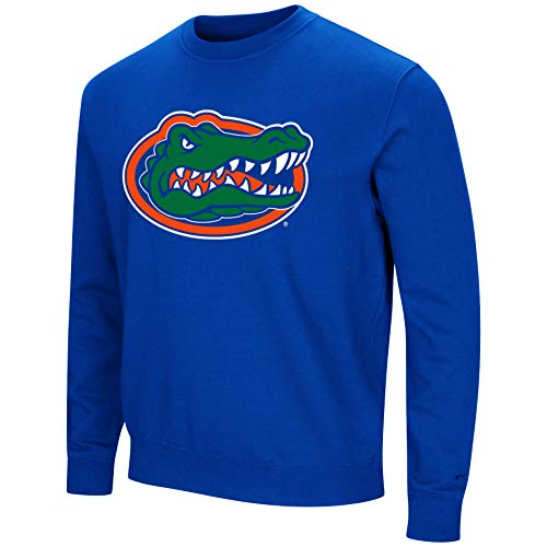 Colosseum NCAA Men's -Playbook- Crewneck Fleece Sweatshirt Tackle Twill Embroidered Lettering-Florida Gators-Blue-XL