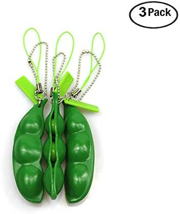 Fidget Toys 3Pack Squeeze-a-Bean Soybean Stress Relieving Keychain Mobile Pendants