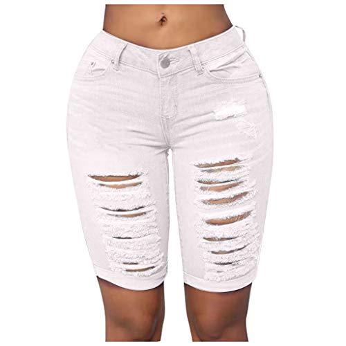 Botrong Fashion Women Casual Skinny Jeans Hole Denim Female Mid Waist Shorts Pants (White,M)