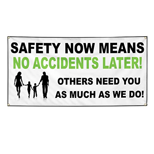 (Vinyl Banner Sign Safety Now Means NoAccidents White Marketing Advertising White - 24inx36in (Multiple Sizes Available), 4 Grommets, One Banner)