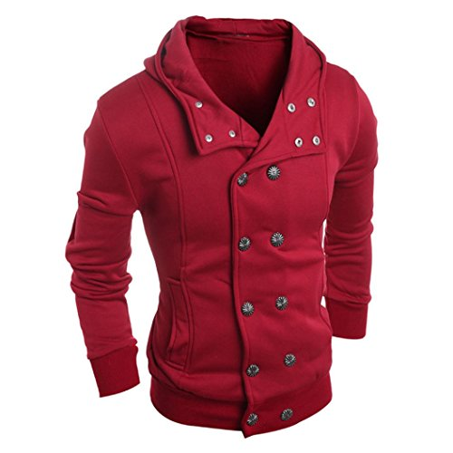 Men's Classic Pea Coat Stand Collar Windproof Double Breasted Blouse Jacket Overcoat Hooded Sweater Top (Red, XXL)