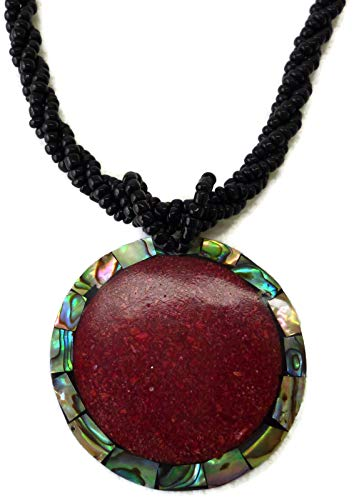 (Moose546 Natural Seashell Round Abalone Pendant Collar Statement Necklace for Women Beach Party DCN-027)