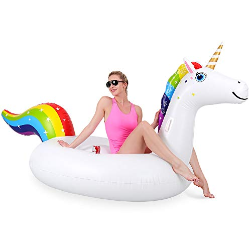 - OlarHike Rainbow Unicorn Pool Floats, Giant Inflatable Pool Float for Adults & Kids with Cup Holder, Ride-on Pool Raft for Ocean, Lake, Pool or Beach