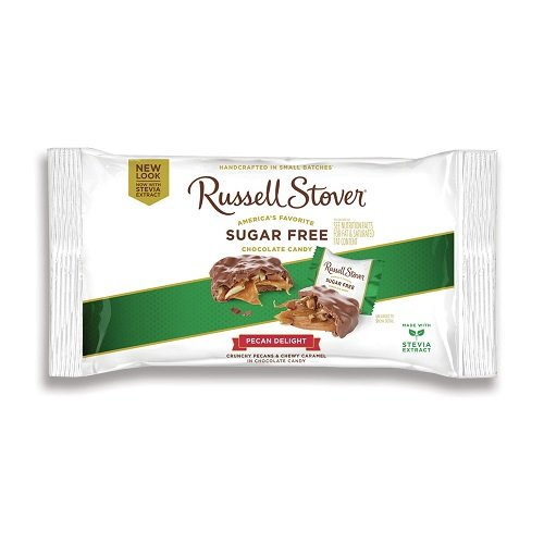 Russell Stover Sugar-Free Pecan Delight, 10 Ounce Laydown Bag, Sugar-Free Candy, Pecans and Buttery Caramel Covered In Chocolate Candy, Sweetened with (Any Occasion Sugar Free Candy)