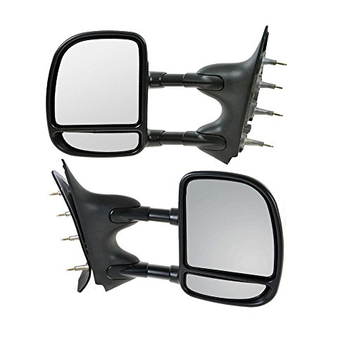 Hex Autoparts® Manual Telescoping Towing Side View Mirror Dual Arm Pair Set Driver and Passenger for Ford E250 E350 E450 E550 Van