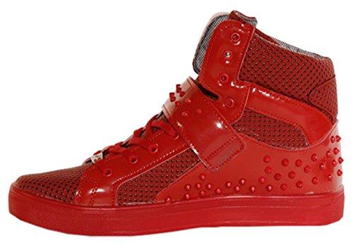 Tamboga Sneaker Boots Freizeitschuhe mit Nieten Noppen Rot für Herren